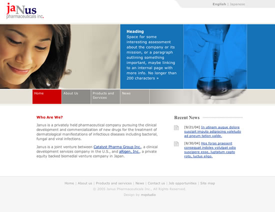 Janus Pharmaceuticals Web Templates: Home page