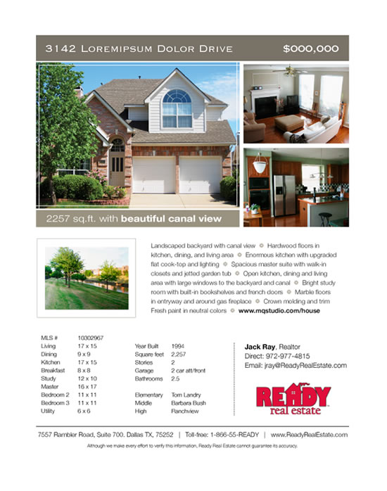 House for Sale Promotional Materials: House flyer